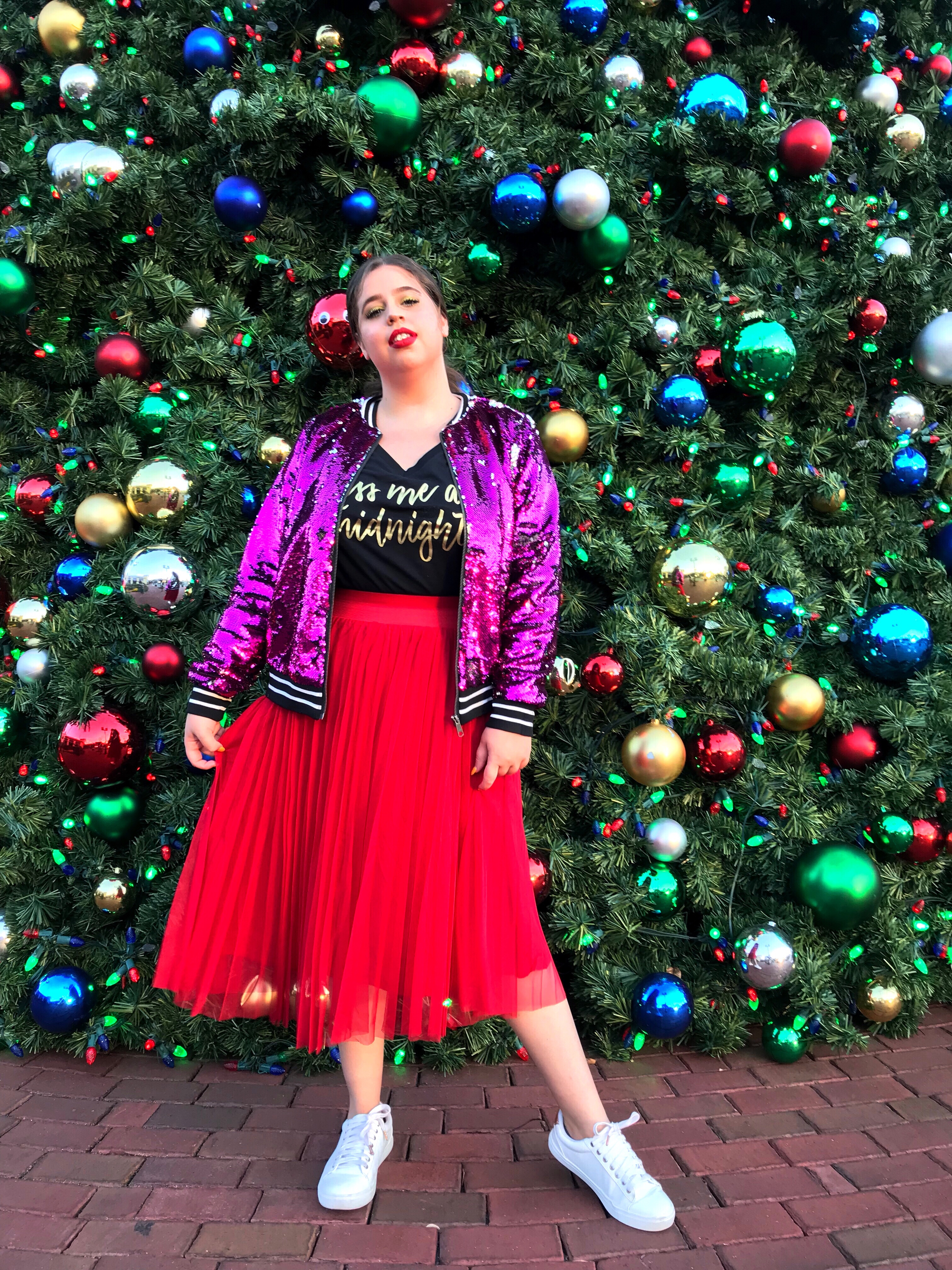 Holiday outfit she Wears Color holiday fashion torrid
