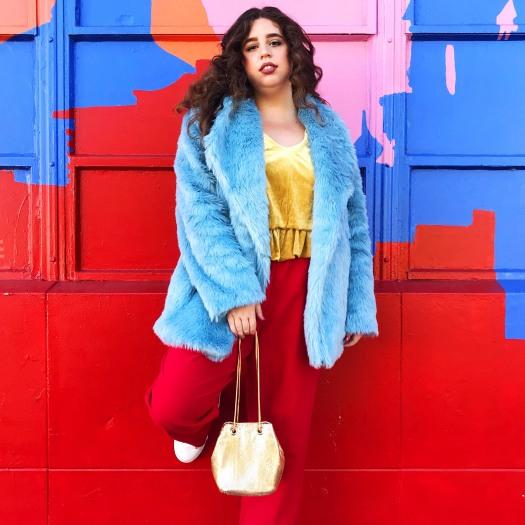 she wears color faux fur fashion shop bando