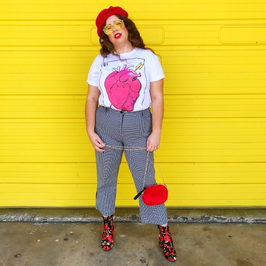 She wears color colorful blogger fall style lame Jane clothing shop small