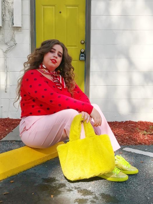 She wears color fall fashion plus size blogger