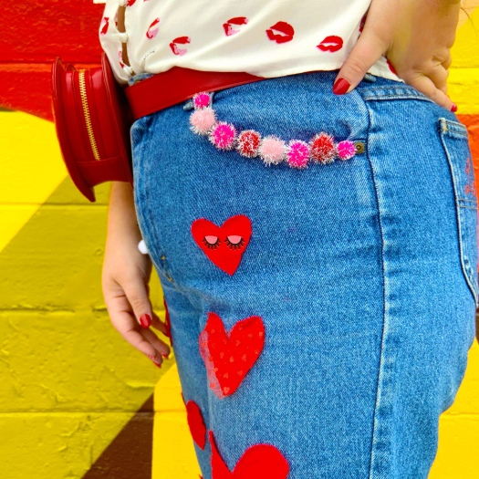 Valentines Galentines diy jeans she Wears Color