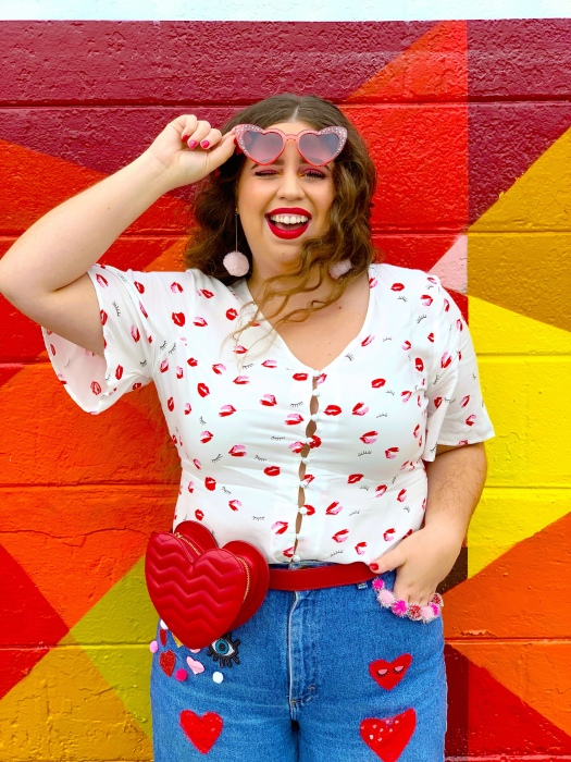 Valentine's Galentine's diy jeans she Wears Color
